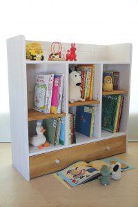 おもちゃ箱付き絵本棚big キャラメル