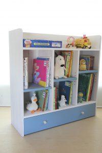 おもちゃ箱付き絵本棚big アイスブルー