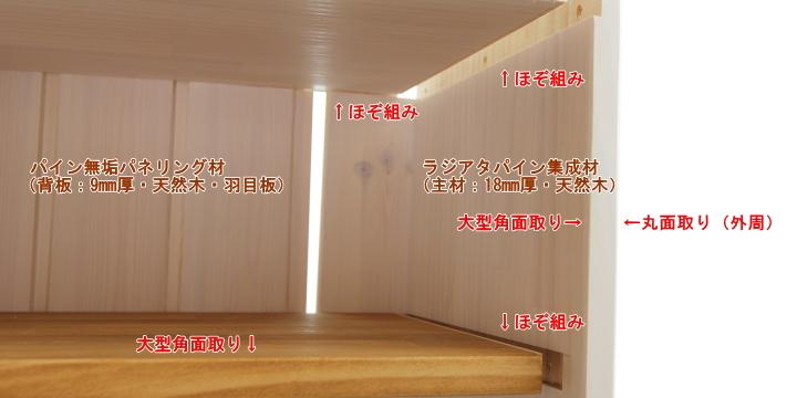 絵本棚の使用材料や組手について