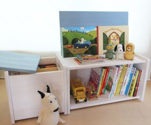 絵本用木箱の使用例拡大写真 アイスブルー